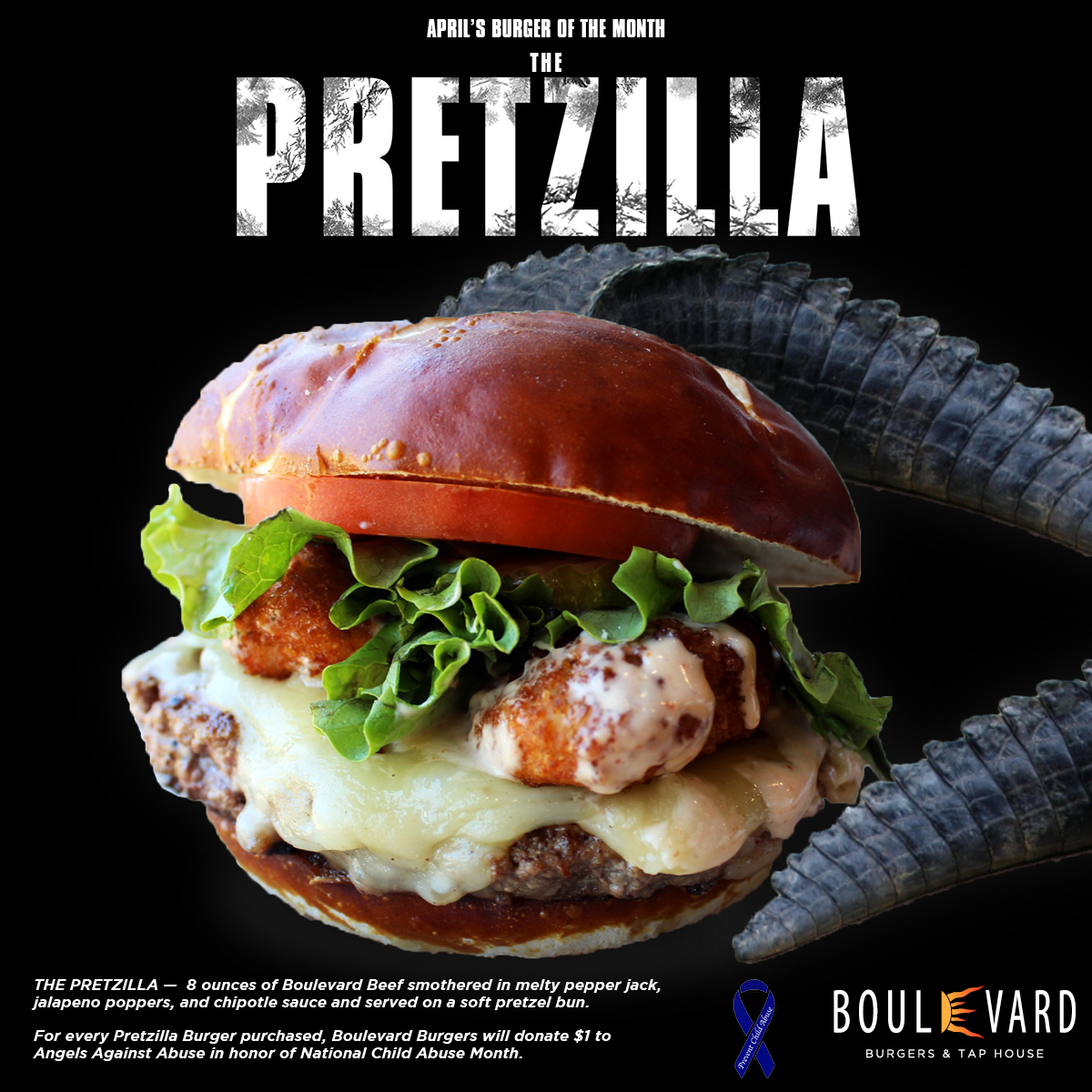 "BURGERS FOR CHARITY: CLIENT BOULEVARD BURGERS DEBUTS ""THE PRETZILLA"""