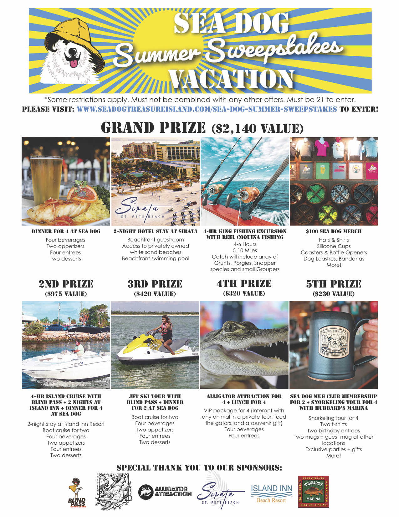 CLIENT NEWS: Treasure Island Sea Dog Brew Pub To Give Away Over $4000 in Vacation Prizes