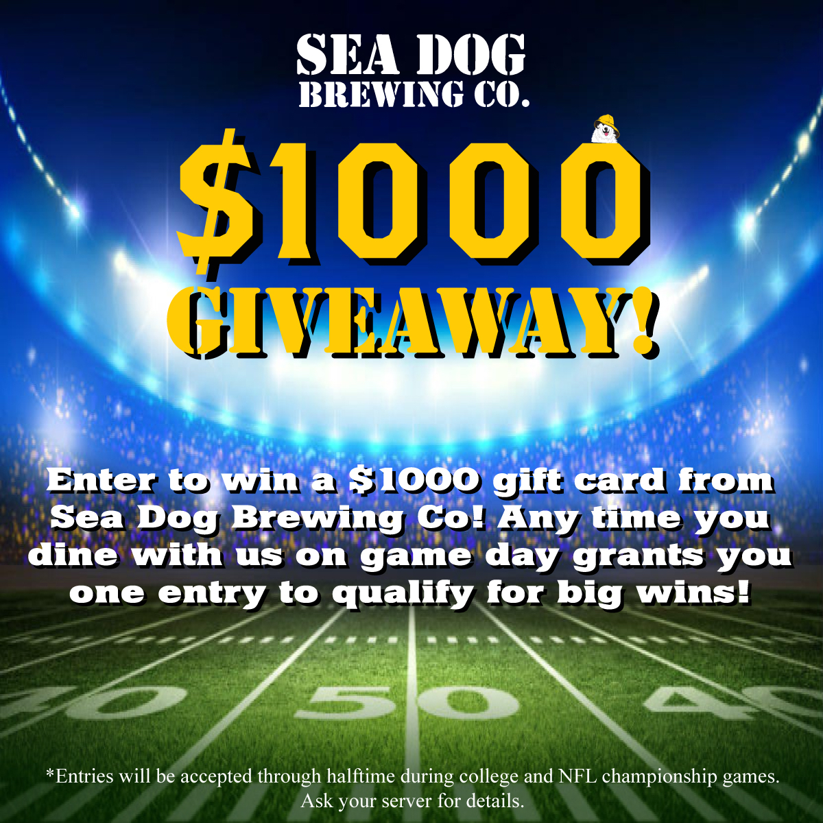 CLIENT NEWS: Sea Dog Brewing to Award $2000 in Cash to Football Fans