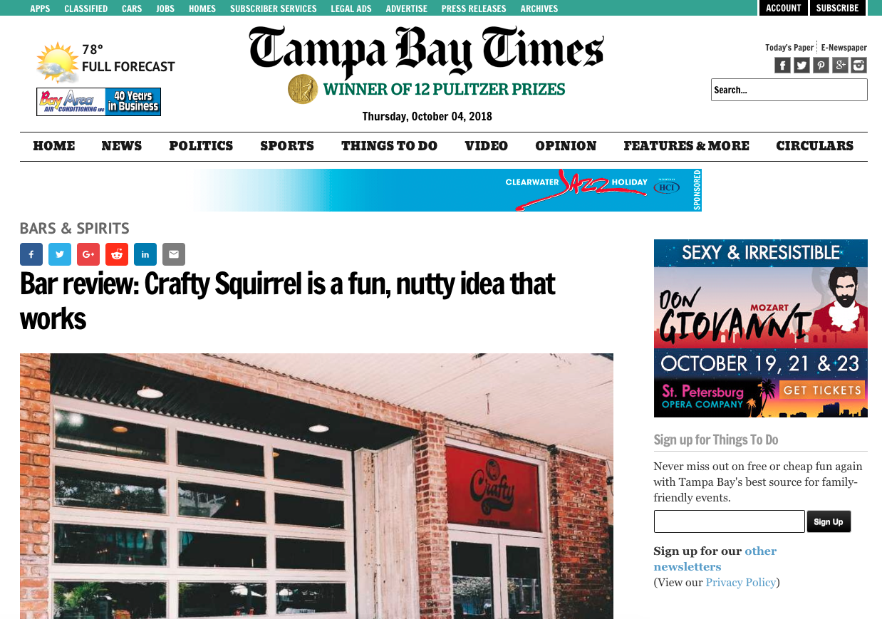CLIENT NEWS: Tampa Bay Times Features Crafty Squirrel as Fun, Nutty Idea that Works