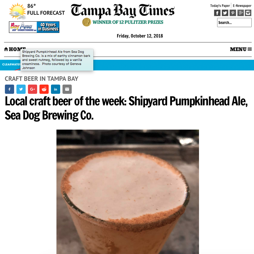 CLIENT NEWS: Shipyard Pumpkinhead Ale is Tampa Bay Times' Featured Beer of the Week