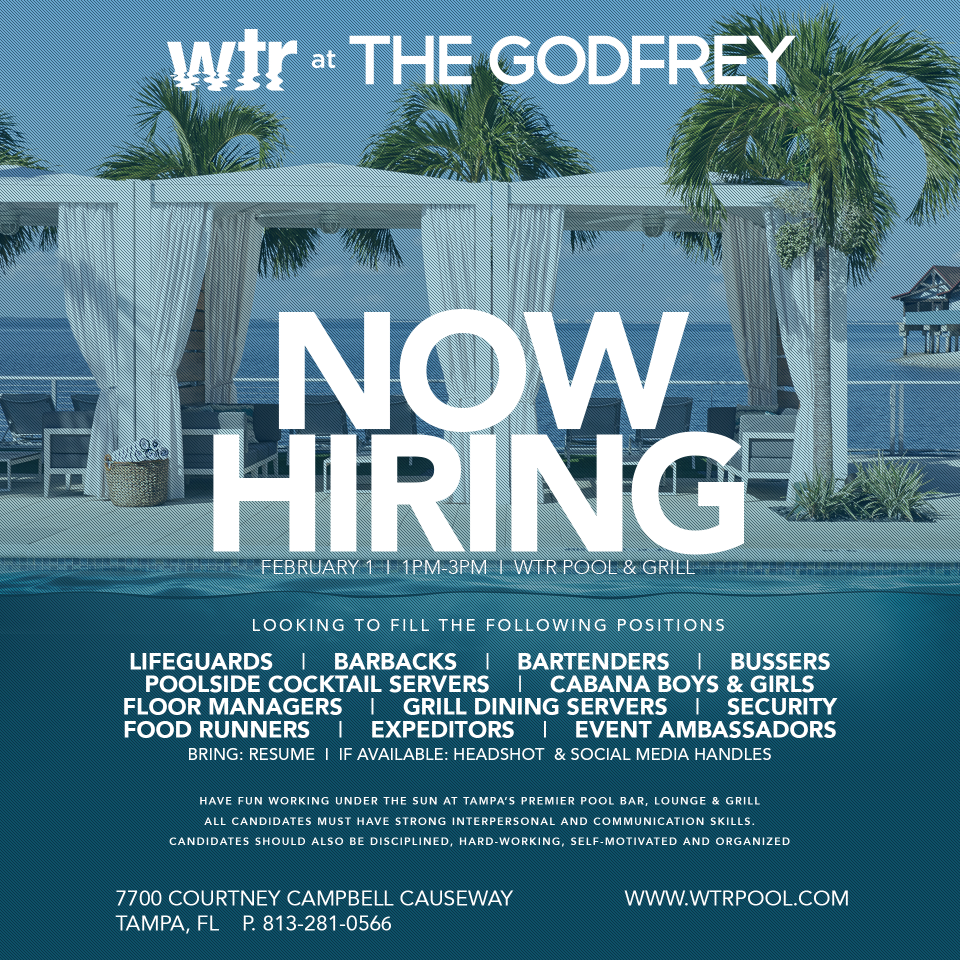 wtr tampa hiring job positions godfrey hotel tampa bay