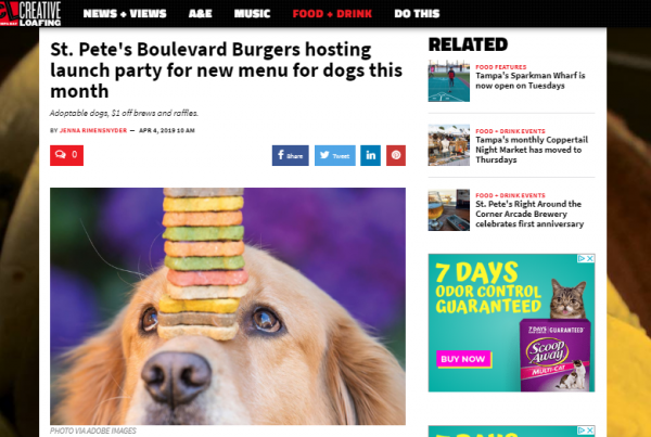 creative loafing tampa boulevard burgers st pete beach pupetizers menu launch party