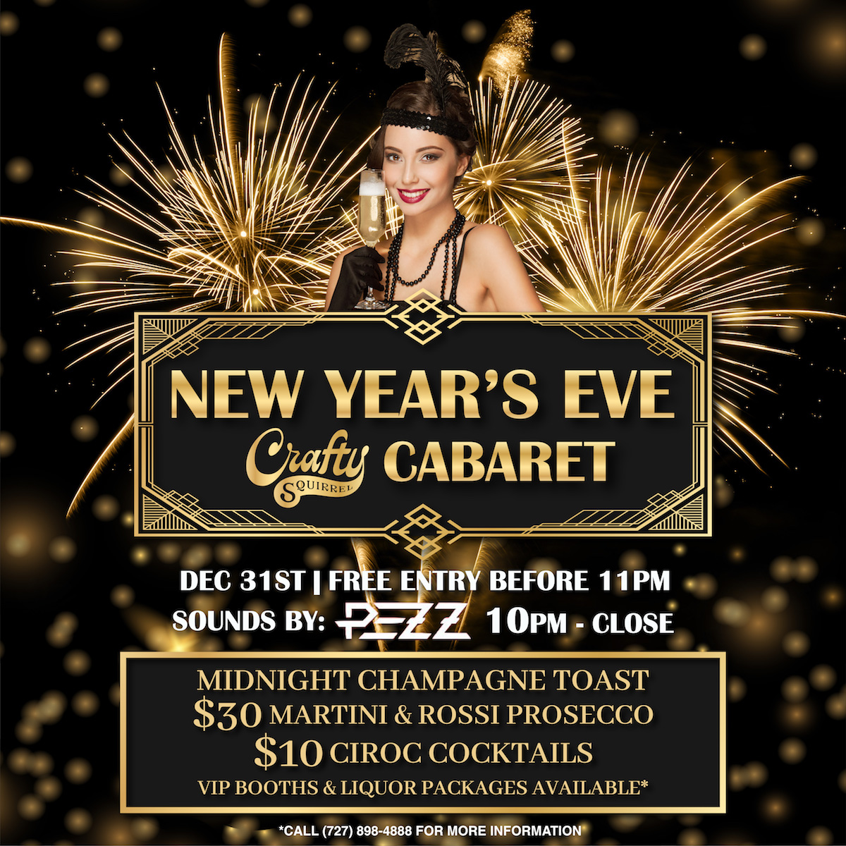 It's A Champagne Wishes and Cabaret Dreams Dance Party for Crafty Squirrel's NYE 2020 Bash