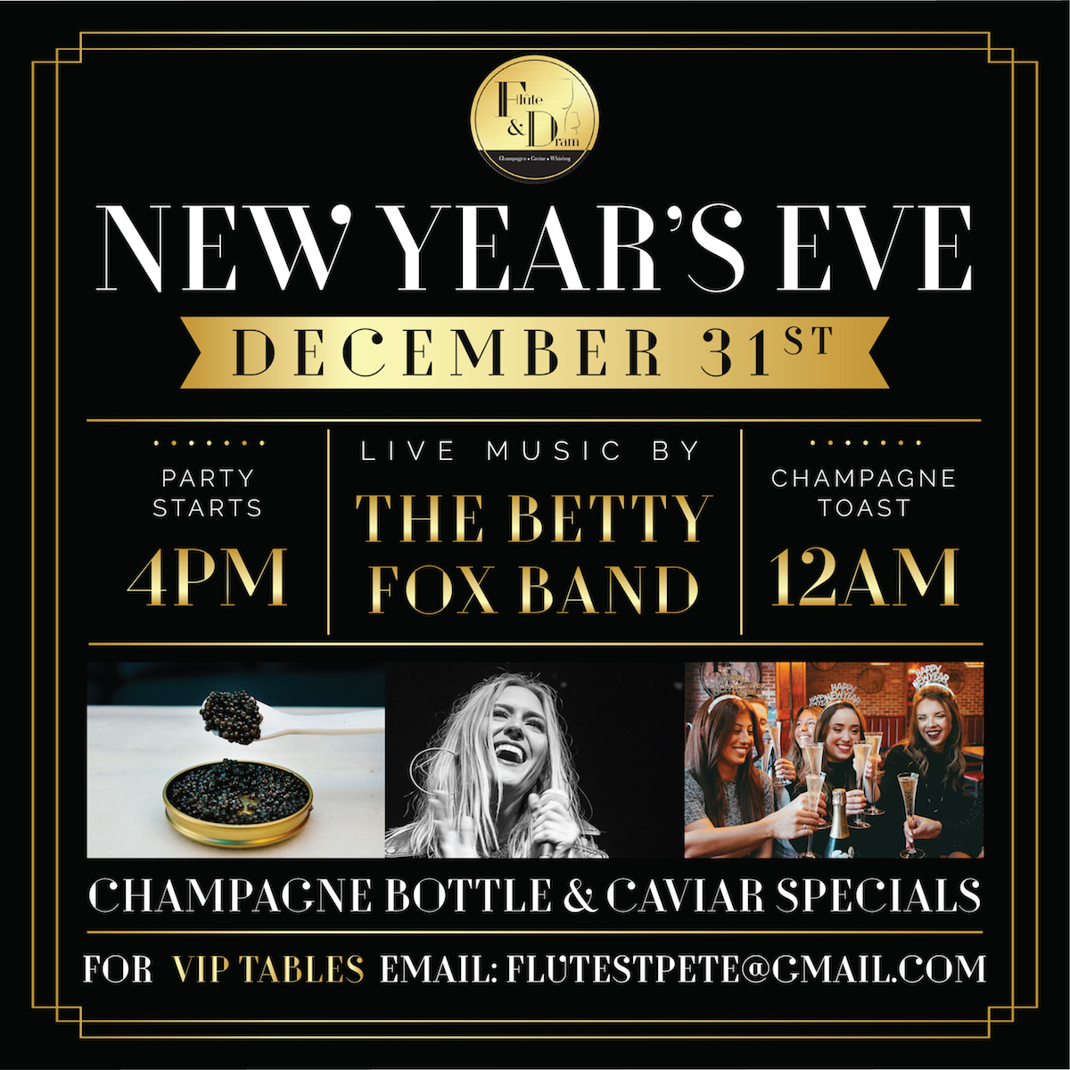 Celebrate New Year's Eve with the Betty Fox Band at Flute & Dram
