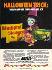 starbursts vintage halloween ad