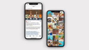 Phones displaying social media
