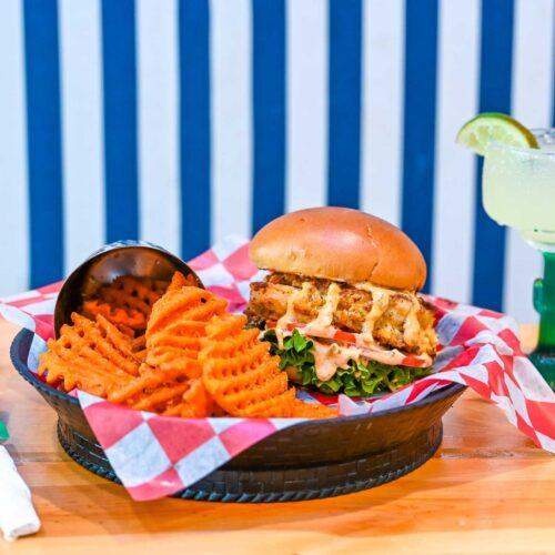 Shrimp burger at the Boulevard Burgers and Taphouse