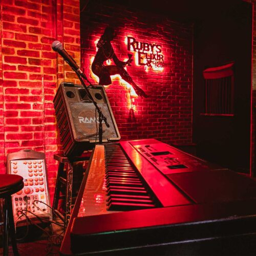 piano at Ruby's Elixir and Central Cigars in downtown St. Petersburg, FL