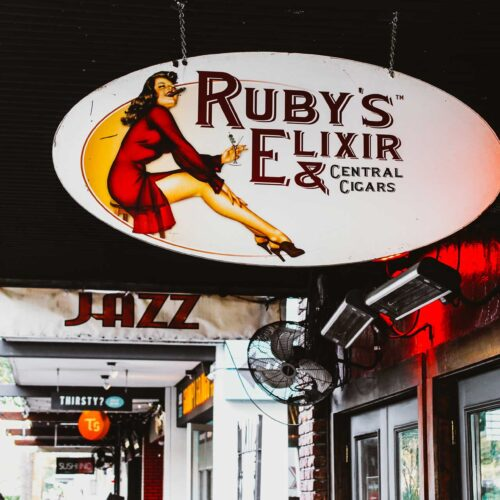 sign at Ruby's Elixir and Central Cigars in downtown St. Petersburg, FL