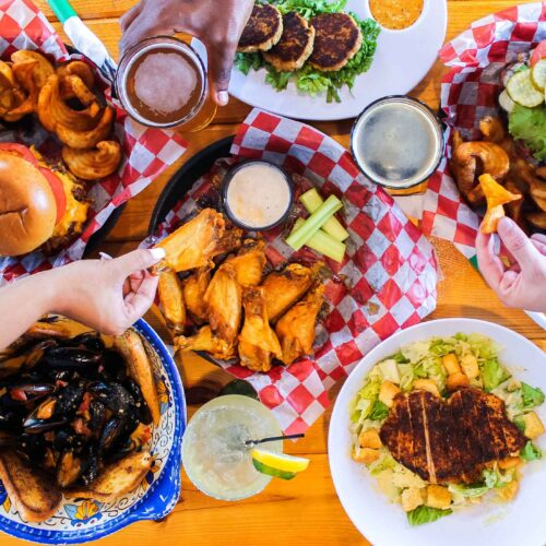 Overhead of food at the Boulevard Burgers and Taphouse