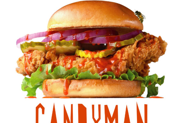 Candyman Promotion Photo, Crispy chicken sandwhich with pickles, hot honey, lettuce, and onions!